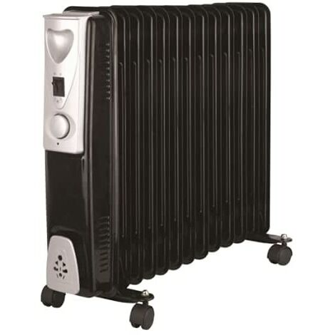 """main image of """"3000w 13 Fin Black Oil Filled Radiator with 3 Heat Settings Portable Energy Efficient Electric Heater"""""""