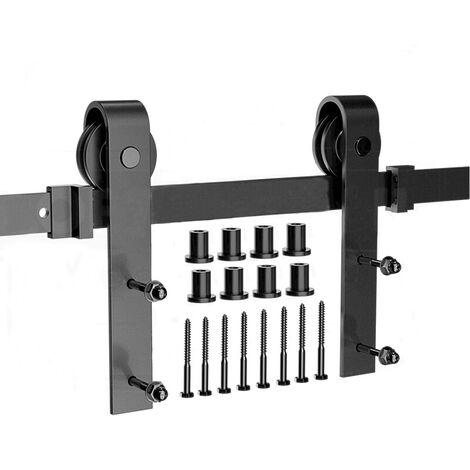 300CM/10FT Quincaillerie Kit de Rail Roulettes pour Porte Coulissante Hardware pour une Porte Suspendue en Bois Sliding Barn Door Hardware