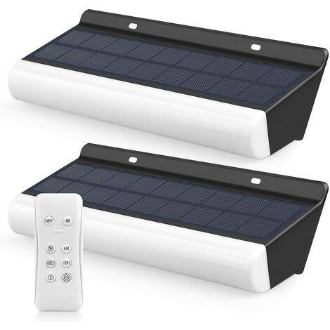 300LM remote control solar wall light, dimmable light with 2 levels of IP66 intensities, 36 Ultra-bright solar lighting LEDs for wall-mounted decor, landscape and light games Evening [Energy class A +]