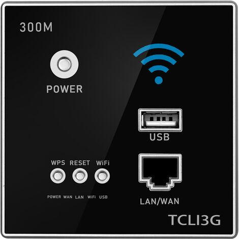 300Mbps Power AP Relay Repetidor inalambrico WIFI Extender, con conector USB,Negro