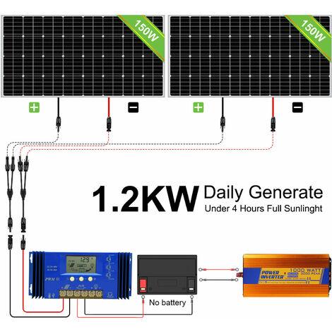 300W 12V kit de paneles solares fuera de la red para cargar baterías en casas móviles