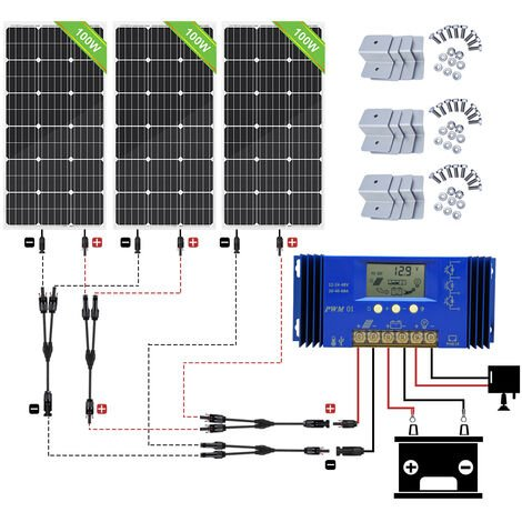 300W Mono Solar Panel 12V Off grid System & 20A CMG Charge Controller for camper