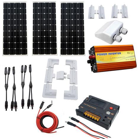 300W Mono Solar Panel Kit 20A CMG Controller 1KW 12V-220V inverter for RV Boat