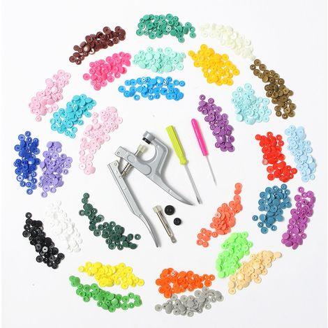 300X 30-Couleur Vêtement Kam Bouton Pression Plastique T5 12Mm + Lot Pince Outil