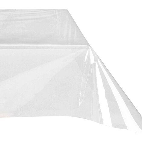 302989 Mantel rectangular de plástico PVC 140x225 cm impermeable y transparente