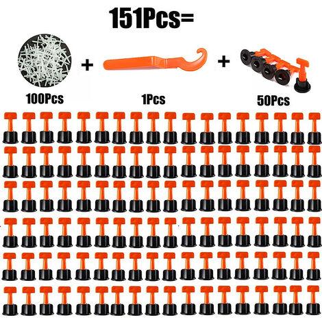 302PCS Sistema de nivelación Azulejos espaciadores Azulejos de pared Azulejos de pared 100 niveladores + llaves + 200 cruces 2.0mm