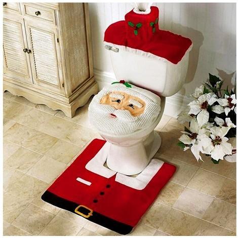 3036 Completo bagno natalizio copriwater Babbo Natale tappeto e porta rotolo