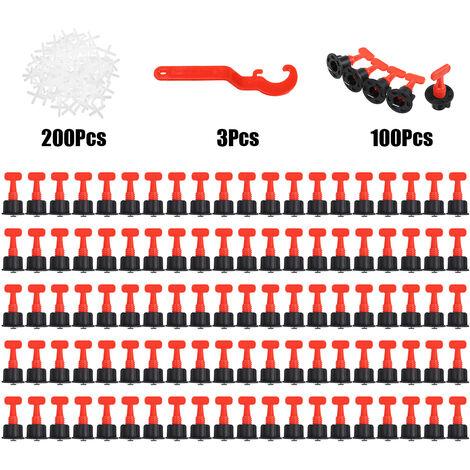 303PCS cales de niveau entretoises système de nivellement de carreaux pour niveleur de mur localisateur de plancher Carrelage (303PCS)