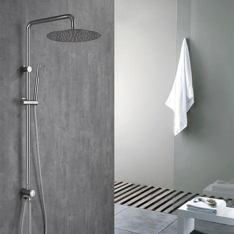 304 Edelstahl Duschset Duschsystem Regenduschset mit Handbrause und Kopfbrause Höhenverstellbare Duschstange Duschsäule für Badezimmer