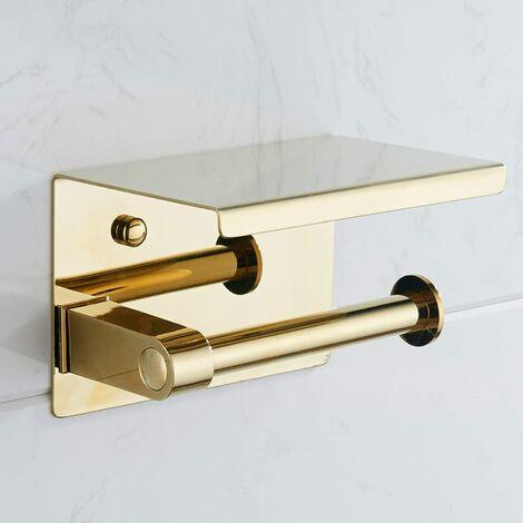 304 en acier inoxydable mural décoration d'hôtel porte-papier hygiénique porte-mouchoirs en acier inoxydable téléphone portable étagère multifonction (doré)