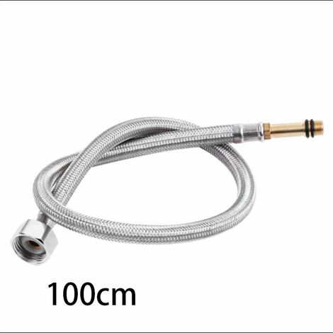 """main image of """"304 Stainless Steel Braided Hose, Metal Single-Head Vegetable Basin, Basin, Hot and Cold Water Faucet, Water Inlet Push Pipe-100cm"""""""