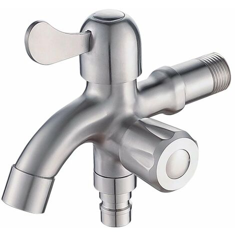 """main image of """"304 Stainless Steel Faucet, Washing Machine Faucet, Bathroom Balcony, Multifunction Dual-Use Faucet at an Input and Two Outputs"""""""