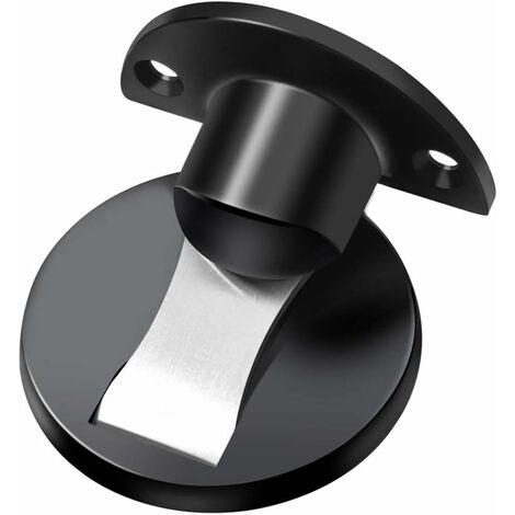 """main image of """"304 Stainless Steel Magnetic Door Stopper, Brushed Metal Soft-Catch Mute Stopper, Home Hotel Restaurant Desk Door Holder Door Stop-black"""""""