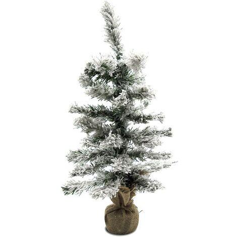 309018 Árbol Navidad 42 ramas plegables PVC 60hcm cubierto de nieve base de yute