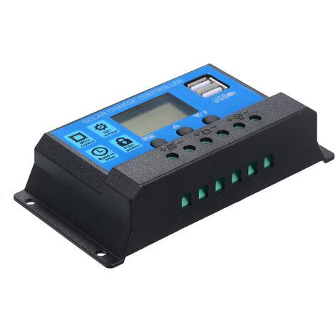 30A, regulador de carga solar de 12V / 24V PWM Regulador inteligente,Azul