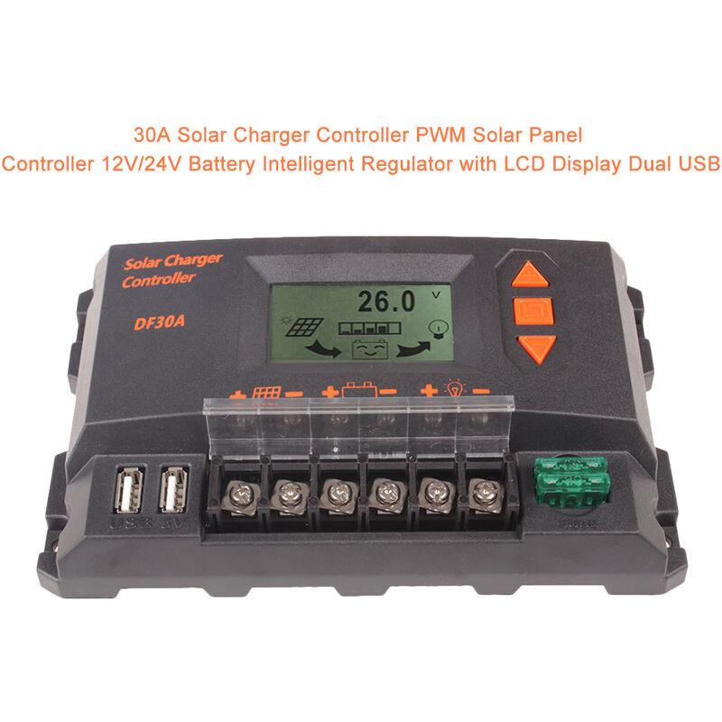 30A Solarladeregler PWM Solarpanel-Laderegler 12V / 24V Batterie Intelligenter Regler mit LCD-Display Dual USB,30A - 30A