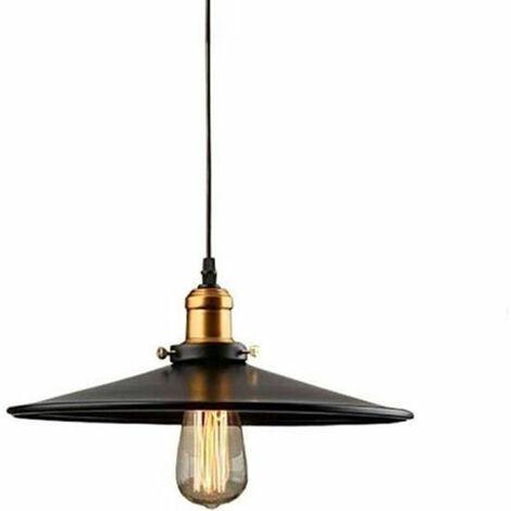30cm E27 Suspension Industrielle Rétro Lustre Abat-Jour Noir Lampe de Plafond Luminaire pour Salon Cuisine Bar