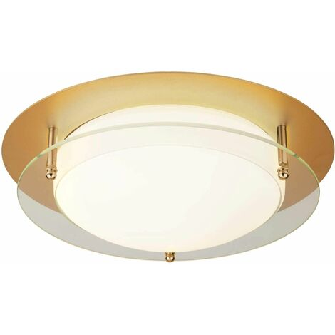 30cm gold led bathroom ceiling light with glass halo ring - ip44