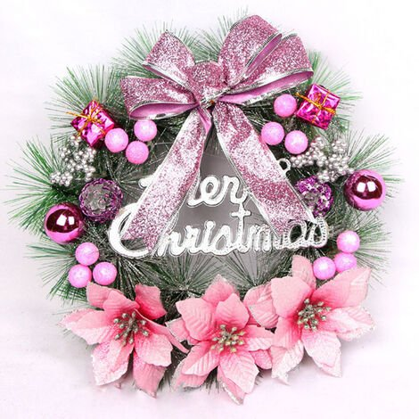 30CM Hanging Flowers Garland Bow Pine Cone Christmas Wreath