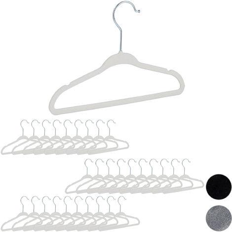 30er Set Kinderkleiderbügel Samt, rutschfeste Kleiderbügel, Steg & Kerben, für Mädchen & Jungen, drehbar, weiß
