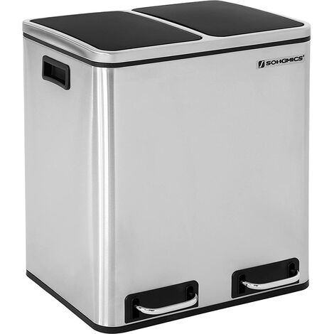 30L (2x15L) Poubelle à pétale pour la cuisine avec 2 Seaux intérieurs Anti-odeur Acier inoxydable Capacité Argent LTB30H - Argent