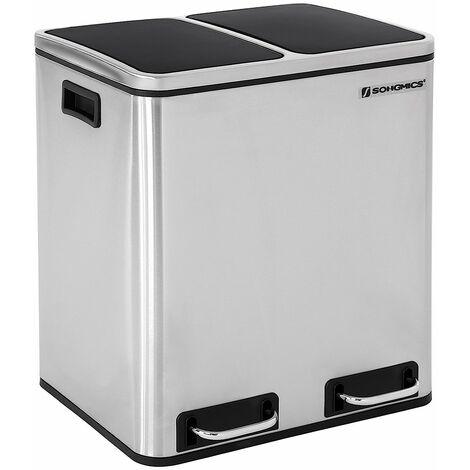 30L Mülleimer Mülltrennung Mülltrennsysteme mit 2 Inneneimern Treteimer für Küche Edelstahl 2 x 15L LTB30H - Silber