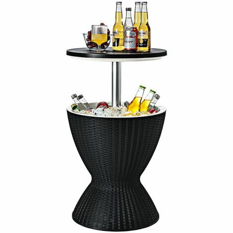 30L Patio Ice Cooler All-weather Cool Bar Table w/ Extendable Tabletop Party