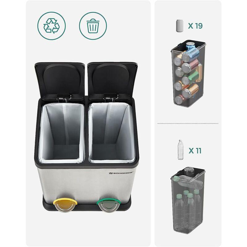 30L Poubelle De Cuisine Résistante Avec Pédales Et 2 Compartiments Tri  Sélectif De Recyclage En Inox LTB30L