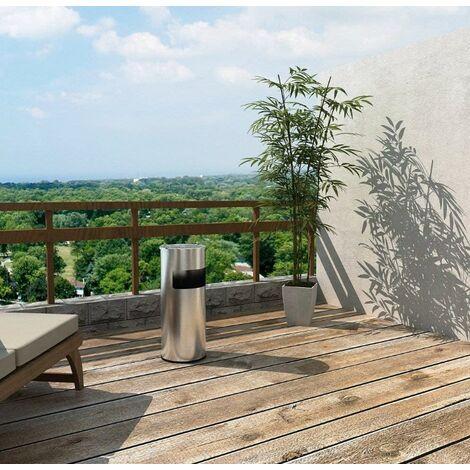 30L Poubelle en acier inoxydable avec Cendrier 60.5 x 24.5cm