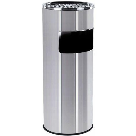 30L Poubelle en acier inoxydable avec Cendrier 60.5 x 24.5cm Noir/Gris/Argent