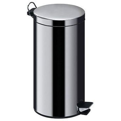 30Ltr Pedal Bin,Mirror Polished Stainless Steel,Inner Plastic Bucket