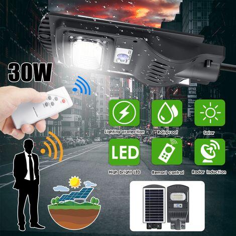 30W 50 LED lampadaire solaire à induction radar lampe de synchronisation extérieure + télécommande (noir, lumière solaire et contr?leur)