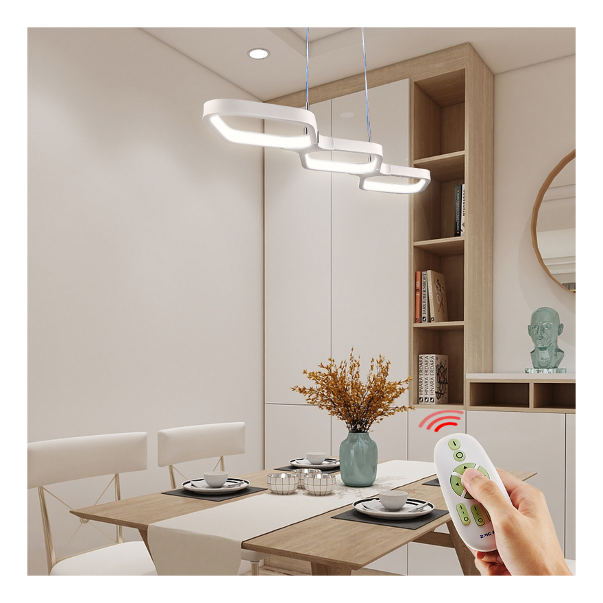 Image of 30W Dimmable LED Ceiling Pendant Light with Remote Control Hanging Lamp for Kitchen Island Bar Cafe Dining Room