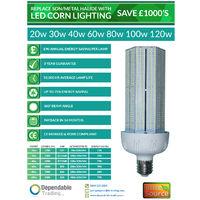 30w LED Corn Light - Replaces 100w Metal Halide/ SON ES / E27 cap 6000k Daylight