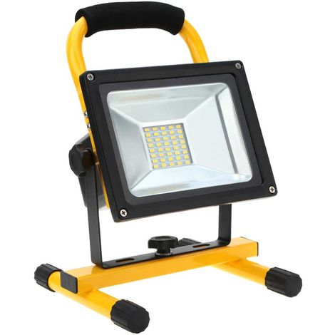 30W rechargeable led flood light, yellow housing, 4pcs batteries, UK charger, 6000K