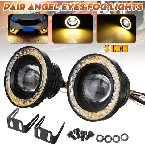 30W voiture antibrouillard ampoules LED projecteur de lampe halo Angel Eyes (jaune, 3 pouces)