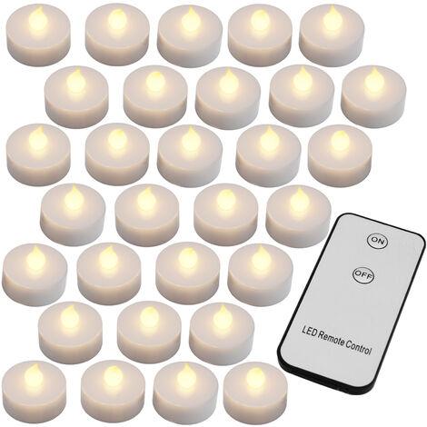 30x flackernde LED Teelichter warmweiß mit Fernbedienung (Ein/Aus) + Batterien - Led Kerzen 30er Set