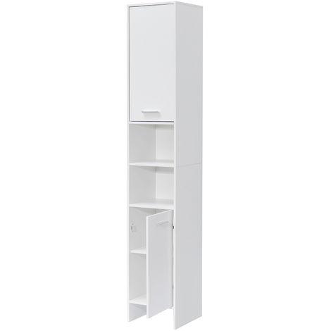 30X30X170Cm Top & Storage Shelf Bathroom Cabinet 6 Towel Compartments Storage