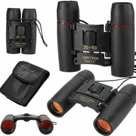 30x60 126m / 1000m Portable Night Vision Telescope Foldable Mini Binoculars with Band + Black Bag