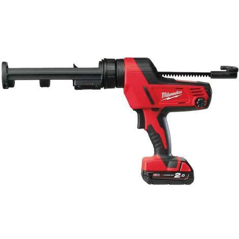 310 ml MILWAUKEE C18 PCG 310C-201B glue gun - 1 battery 18V 2.0 Ah - 1 charger M12-18C 4933441310