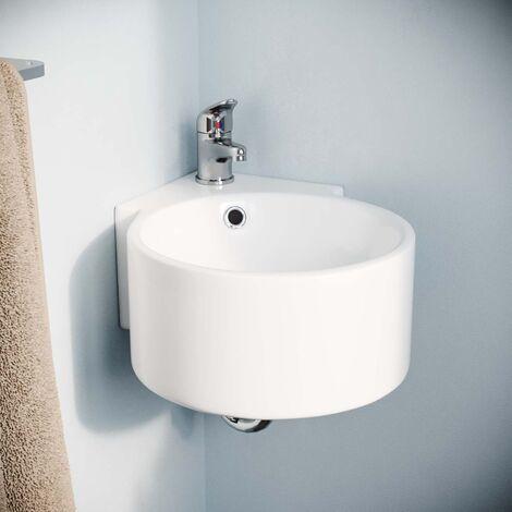 310mm BATHROOM WALL HUNG CLOAKROOM CERAMIC COMPACT CORNER BASIN SINK