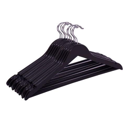 3.12 Schwarze Holz Kleiderbügel - 10 Stück - Farbe: schwarz