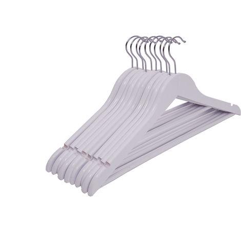3.12 Weiße Holz Kleiderbügel - 10 Stück - Farbe: weiß