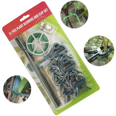 31pcs Planta Injerto fijo sistema de herramienta 65.6ft jardin de plantas lazos con clips de plantas cortadores fijos correas para las plantas del jardin Clip Grupo de apoyo fijo Injerto