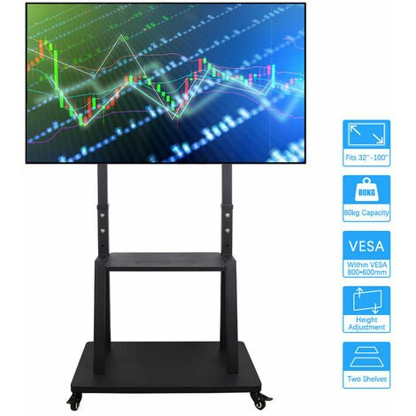 """32-100"""" Mobile TV Cart Floor Stand Mount Extra Strong Trolley for Plasma/LCD/LED"""