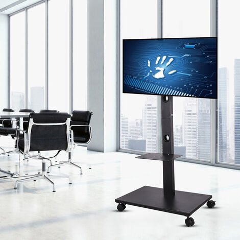 """32""""-70"""" Portable TV Mobile Floor Stand Moving Cart Mount Height Adjustable 30KG"""