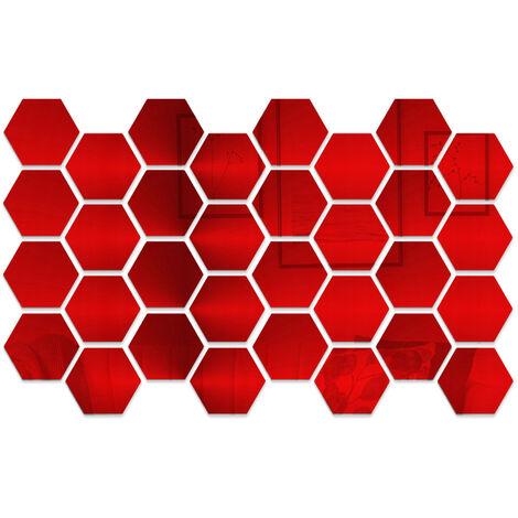 32 pieces de miroir acrylique hexagone stickers muraux bricolage decoration de la maison miroir stickers muraux, taille or 8 * 7 * 4 cm