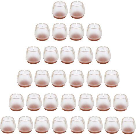 32 Stück Silikon Stuhlkappe Fußpolster Möbel Tisch Bein Bodenschutz transparente Stuhlbeinkappe für 25-29 MM runde Beine