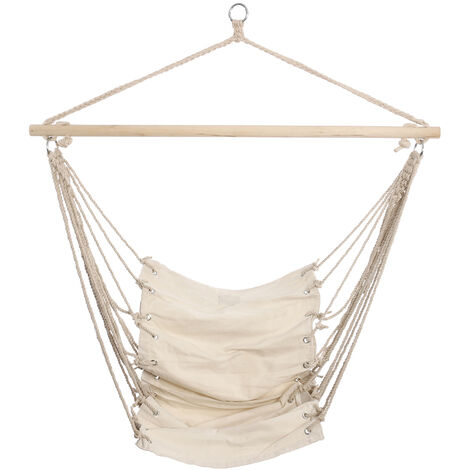 "main image of ""32 '' x 17 '' White Canvas Hammock Chair Outdoor Garden Indoor Hanging Swing Chair Mohoo"""