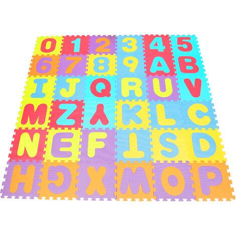 32*32*0.9cm Tapis Puzzle en Mousse - Alphabet + Numéro - Enfants
